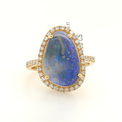14kt Yellow Gold Boulder Opal & Diamonds Womens Ring 1132718O