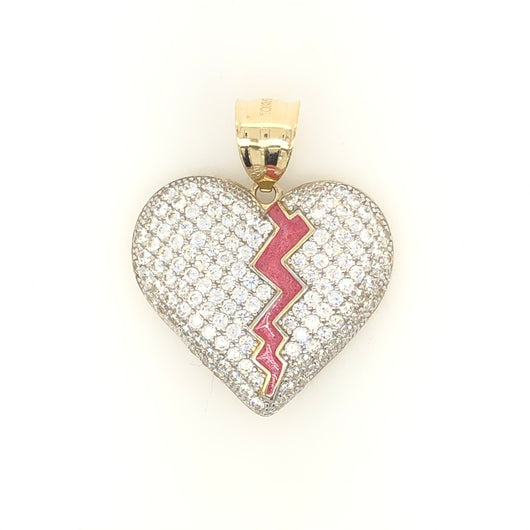 10kt Yellow Gold Broken Heart Cz with Enamel Pendant