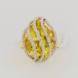 14kt Yellow Gold Cocktail Ring Yellow Citrine Quartz Pear with Diamond Cage Womens Ring
