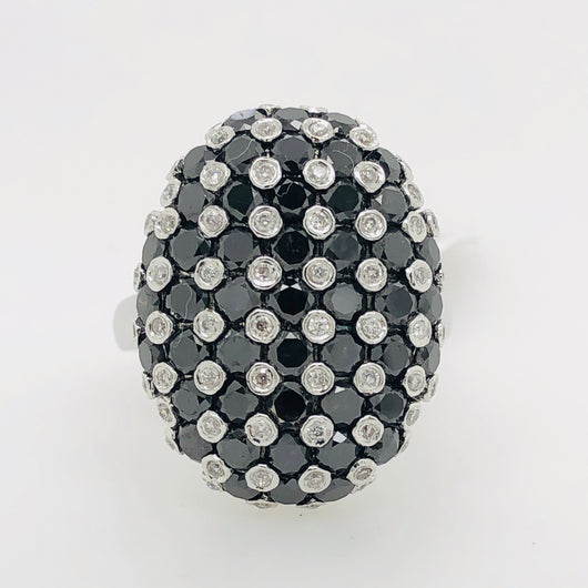14kt White Gold Oval Checkerboard Black Diamond & Diamond 3.55ct Womens Ring