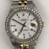 Rolex Vintage Datejust 36mm White Roman Dial with Custom Diamond Bezel Jubilee Band