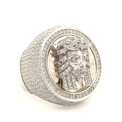 .925 Jesus Head Cz Ring