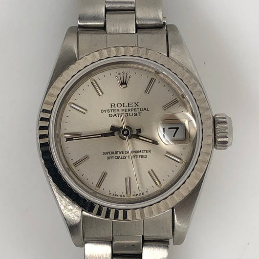 Rolex Vintage Datejust 26mm Lady White Dial Steel Oyster Band 69174