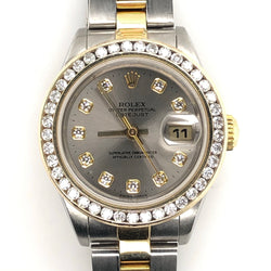Rolex Datejust Lady 26mm Silver Diamond Dial & Bezel Yellow Gold & Steel Oyster Band 79163