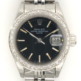 Rolex Date Lady 26mm Black Dial Diamond Bezel Steel Jubilee Band