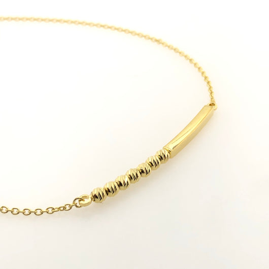 10kt Yellow Gold Bar Diamond Cut Beads Anklet