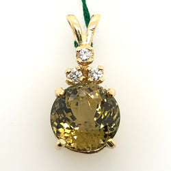 14kt Yellow Gold Tourmaline 10mm Pendant