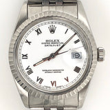 Rolex DateJust 36mm White Roman Dial Jubilee Stainless Steel Band