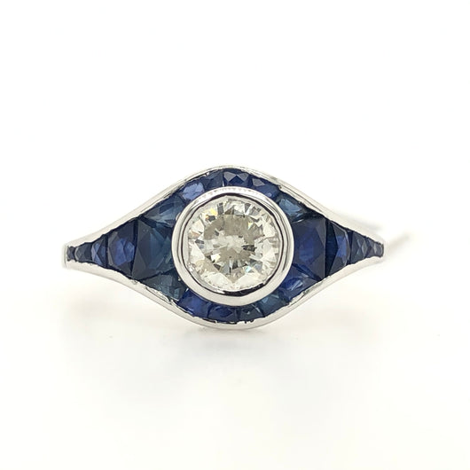 14kt White Gold Diamond With Sapphire Bezel Art Deco Womens Ring