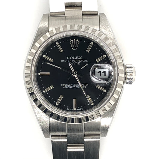 Rolex Date 26mm Lady Black Dial Steel Oyster Band 79240