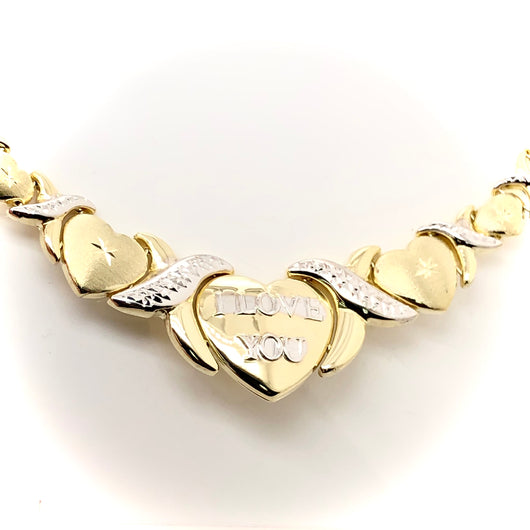 10kt Two Tone I LOVE YOU Set Heart & X  Necklace and Bracelet