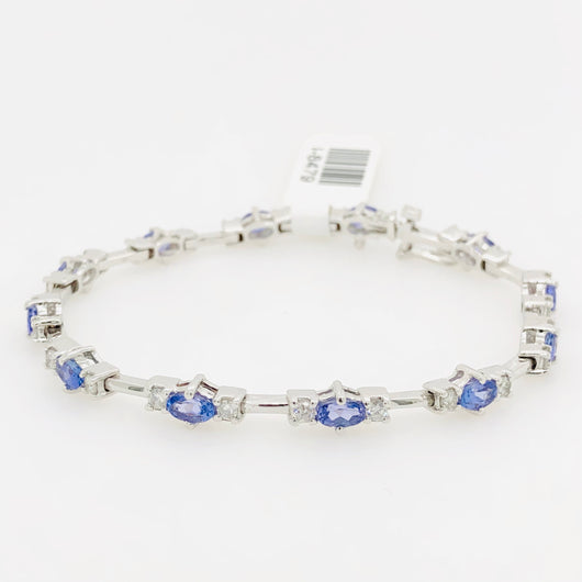 14kt White Gold Tanzanite & Diamond Tennis Bracelet