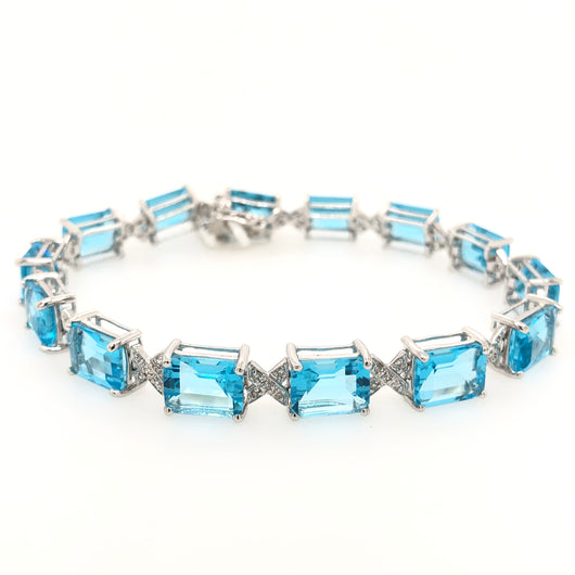 14kt White Gold Aquamarine & Diamond Gemstone Tennis Bracelet