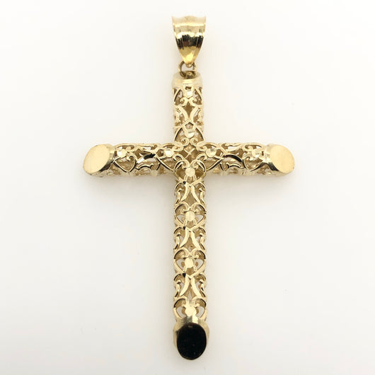 10kt Yellow Gold Filigree Tube Cross 2 Inches 4.2 gr
