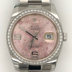 Rolex Datejust 36mm Pink Floral Dial Diamond Bezel Oyster Steel Band