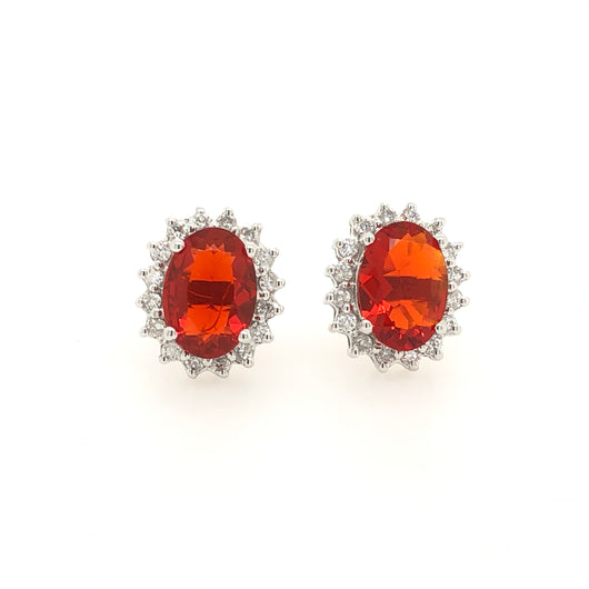 14kt White Gold Fire Opal Dismond Halo Studs