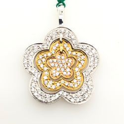 18kt White, Yellow & Rose Gold Diamond Flower Pendant