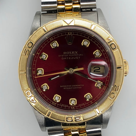 Rolex Vintage Datejust 36mm Diamond Red Dial Thunderbird Bezrl Jubilee Band