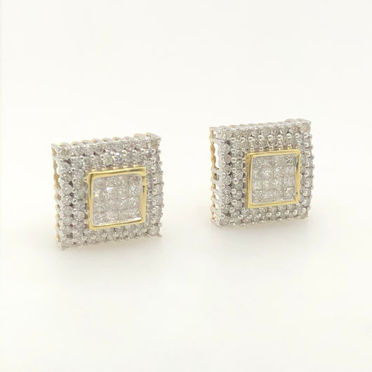 14kt Yellow Gold Square Diamond Studs 2.00ct