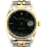 Rolex Datejust 36mm Black Dial Yellow Gold & Steel Jubilee