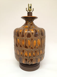 Mid Century Brown & Gold Ceramic Lamp on Wood tone Base