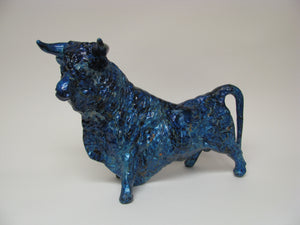 Mid century Vintage Blue Ceramic Bull in the Style of Royal Haeger