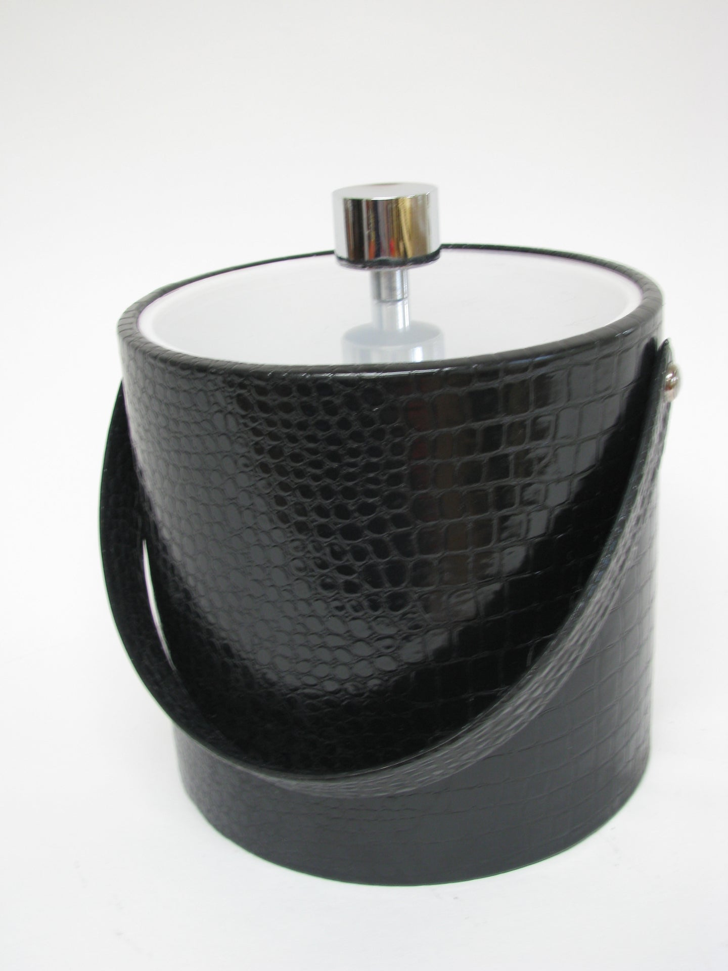 Mid Century Black Faux Alligator Ice Bucket by Irvinware