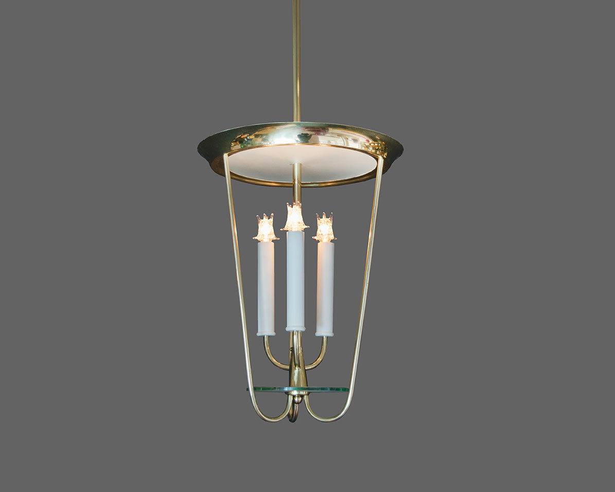 1950s Fontana Arte Style Lantern Pendant in Brass and Glass