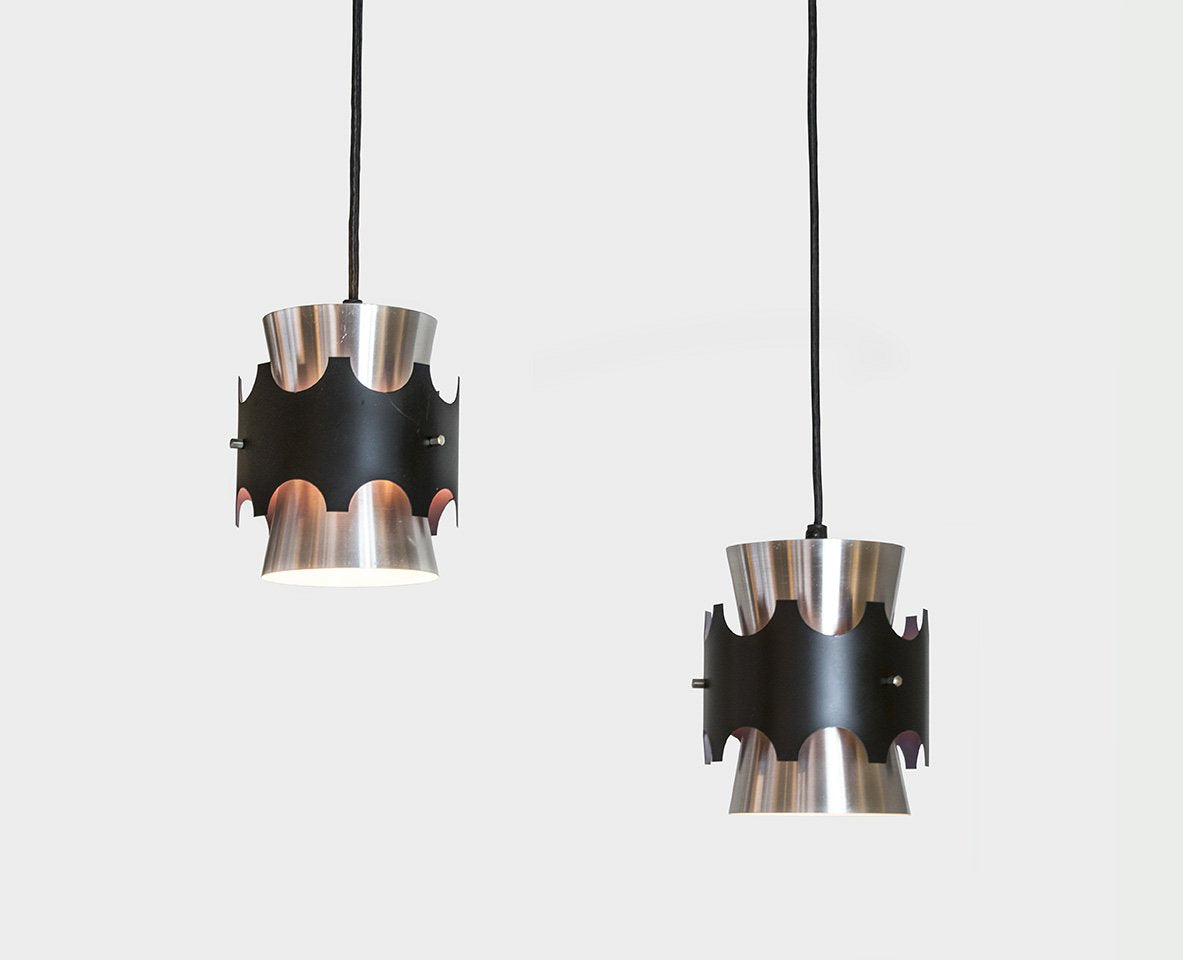 Pair of Aluminum & Black Pendants by Jo Hammerborg