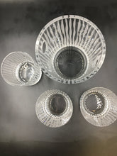 Etched Cut Crystal Ice Bowl Bucket & Set of 3 Rocks Glasses Signed by Salviati