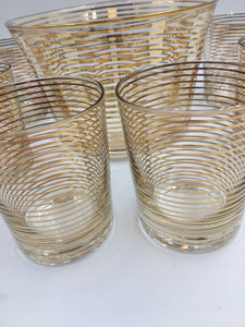 Art Deco Gold Bands Glass Bar Glasses and Ice Tub/Bucket by MacBeth-Evans Corning