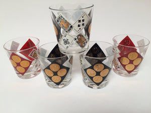 Vintage Playing Card & Coin Rocks Glasses in Red, Black & 22k Gold