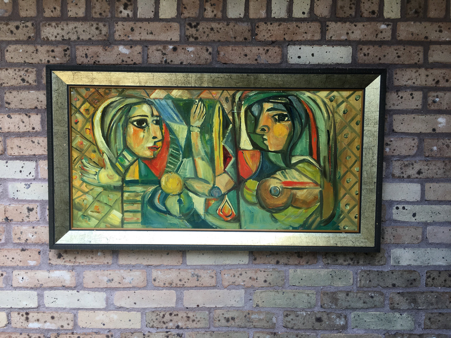 Mid Century Modern Cubism Style Painting