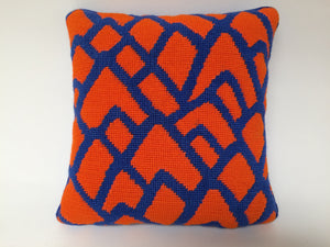 Needlepoint Orange and Blue Bargello Accent Throw Pillow