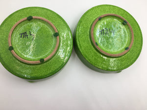 Pair of Mid Century Italian Lime Green Ceramic Ashtrays
