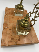 Early 20th Century Marble Desk Set with Bronze Horseshoe and Glass Inkwells