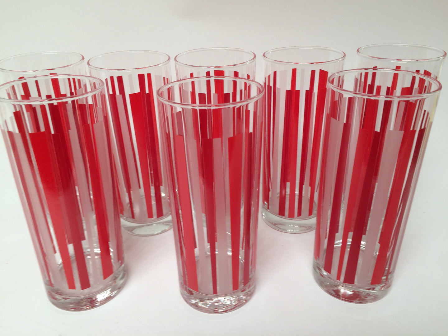 Set of 8 Red and Frosted White Tom Collins Highball