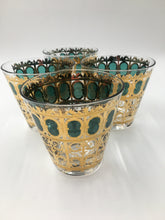 Set of 4 Culver Emerald Scroll Tapered Rocks Glasses