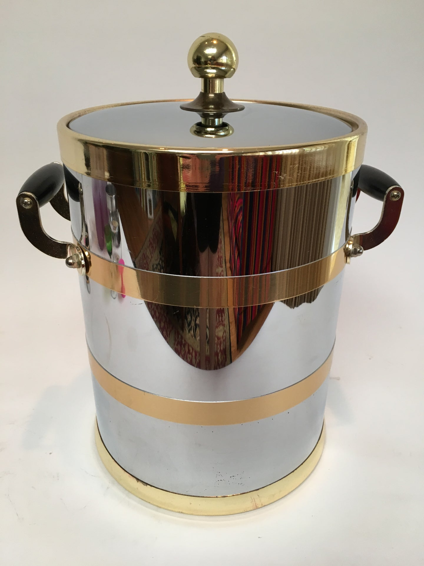 Kraftware Chrome and Brass Ice Bucket