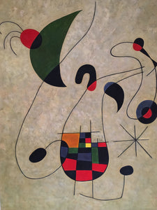 Surrealist Painting on Canvas signed SEN After Miro