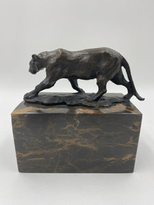 Bronze Jaguar Big Cat Cougar Marble Statue Bookend