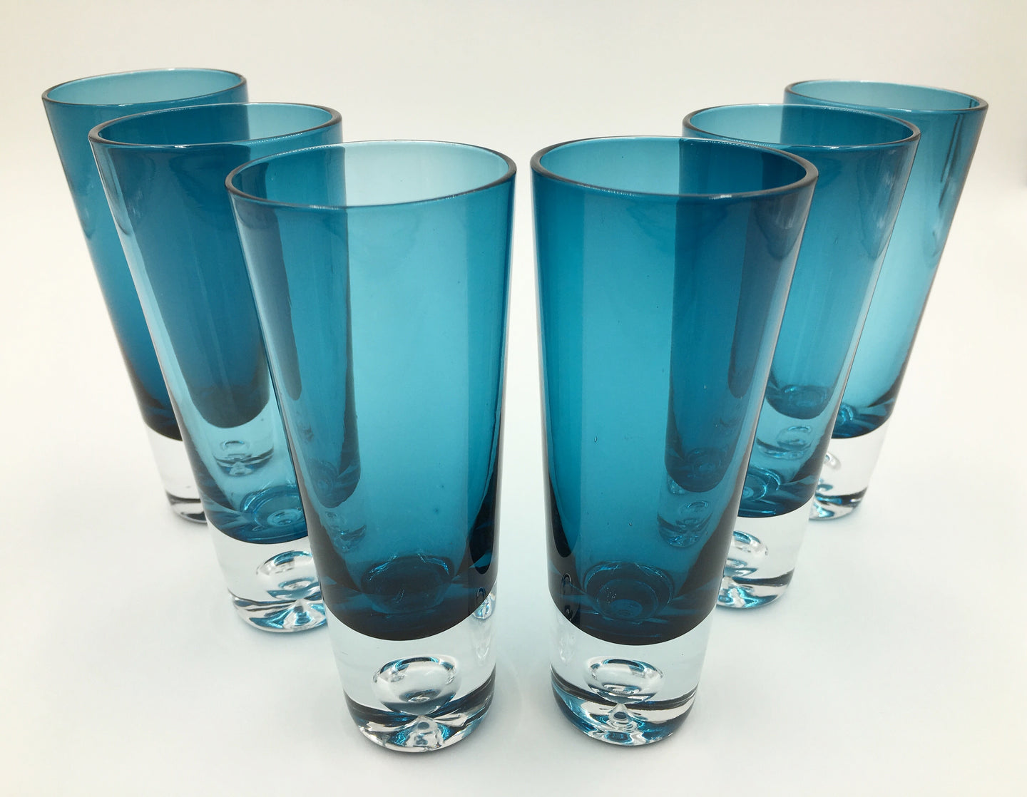 Set of 6 Azure Blue Krosno Vodka Shot Glasses