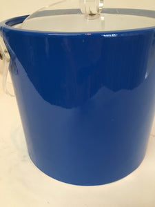 Mid Century Bright Blue Patent Vinyl Ice Bucket with Lucite Lid