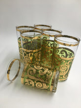 Set of 6 Culver Green Baroque Highball 22Kt Gold Foil Green Scrolls 1960s Mid Century Hollywood Regency Mad Men