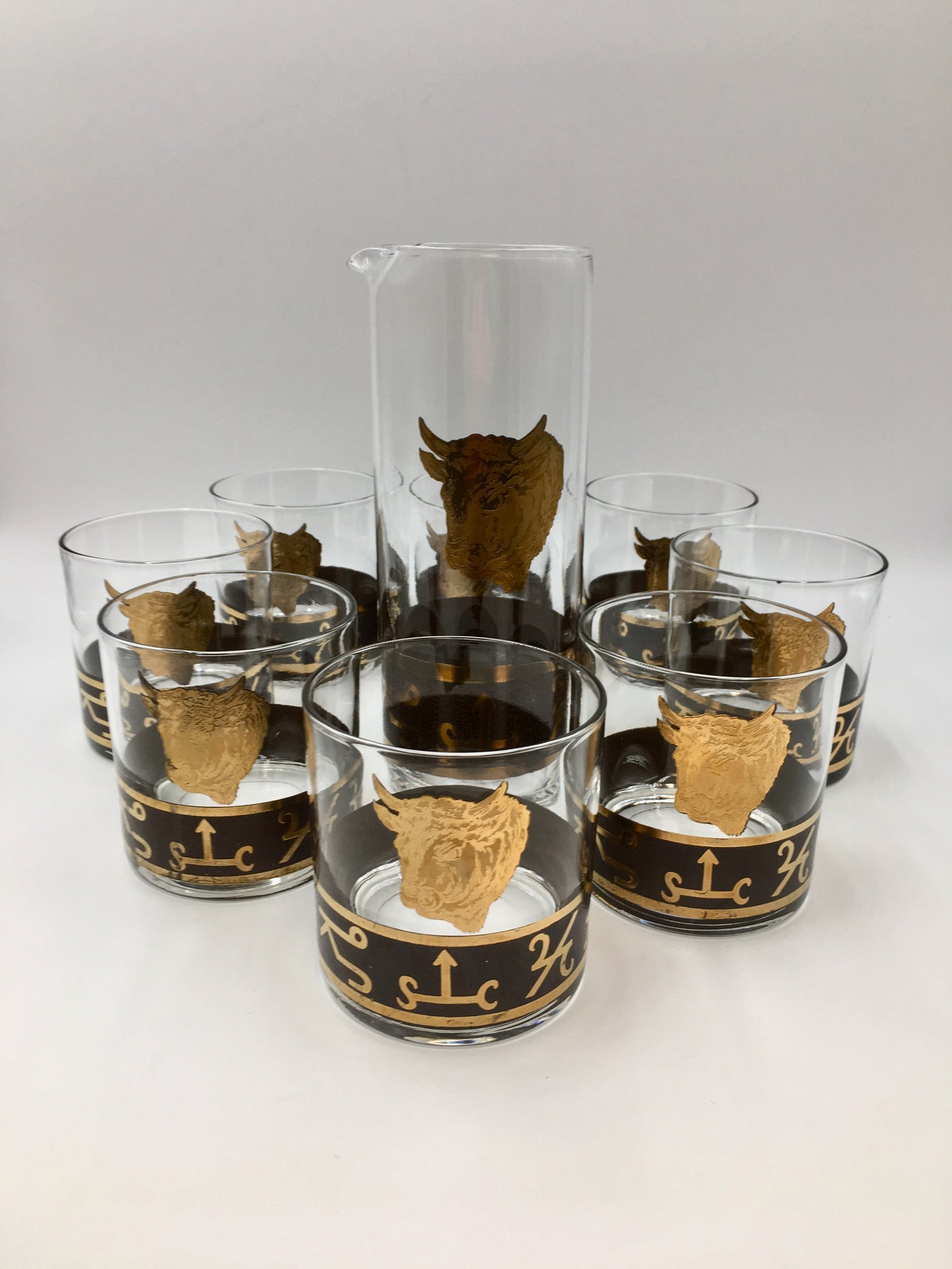 Vintage Cocktail Set of Western Ranch Barware with Gold Bulls