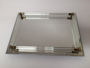 Vintage Vanity Tray with Lucite Rails & Brass Posts