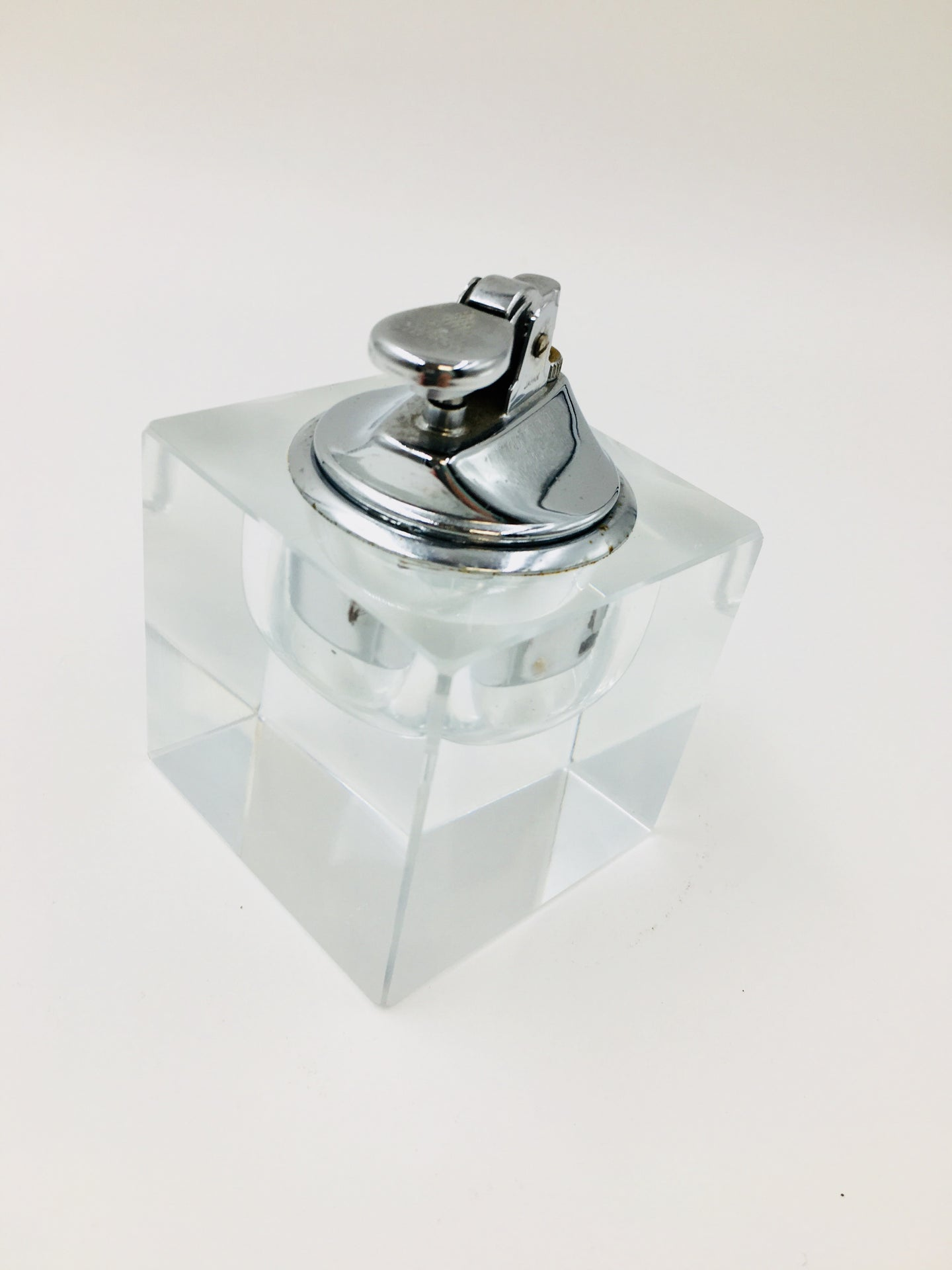 Mid Century Lucite Cube Cigarette Table Lighter