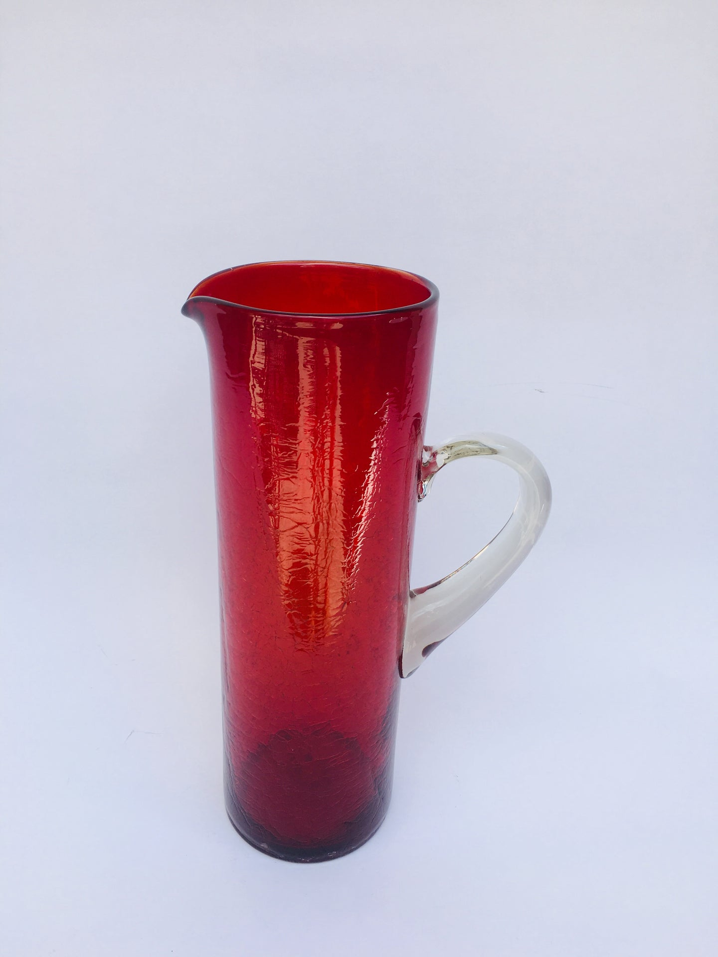 Vintage Bischoff Indiana Blown Glass Red Crackle Pitcher