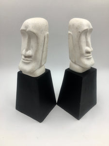 Vintage Moai Head Bookends