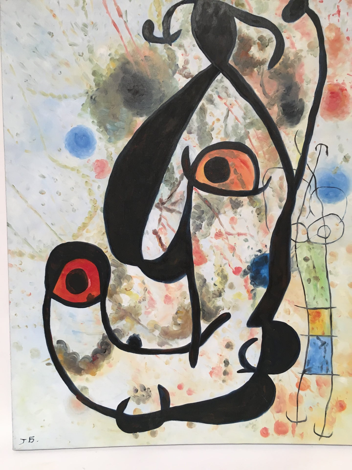 Surrealist Painting on Canvas Signed JB after Joan Miro